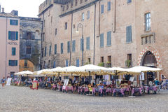 Cafe on a square infront of Ducal Palace in Mantua Royalty Free Stock Image