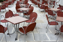 Cafe square tables Stock Photos