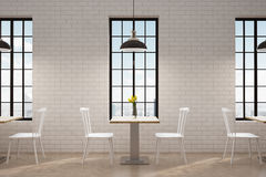 Cafe with square tables, front. Front view of a cafe with square wooden tables with flowers on them, white chairs and tall windows. 3d rendering Royalty Free Stock Images