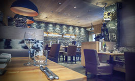 Cafe with stone wall Stock Image