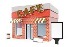 Cafe Store with copy space board isolated on white background. Modern shop buildings, store facades. Exterior market. Exterior facade store building. 3D Royalty Free Stock Photo