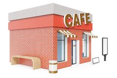Cafe Store with copy space board isolated on white background. Modern shop buildings, store facades. Exterior market. Exterior facade store building. 3D Royalty Free Stock Image
