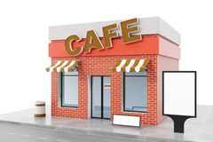 Cafe Store with copy space board isolated on white background. Modern shop buildings, store facades. Exterior market. Exterior facade store building. 3D Stock Photography
