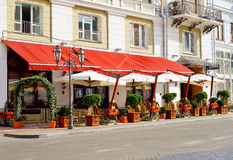 Cafe on the street. Of old European city Royalty Free Stock Photos