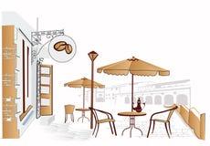 Cafe street. Cozy cafe on the street royalty free illustration