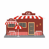 Cafe, street bistro building facade. Small building with roof, tables, umbrella, flowers. You can simply change size, text on signboard. Vector illustration Stock Photos