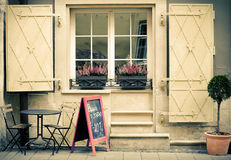 Cafe on street in Lviv city Royalty Free Stock Photos