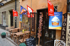 Cafe on the street of in Stockholm Stock Photography