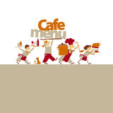 Cafe stuff caring food and drinks. Royalty Free Stock Photography
