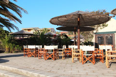 Cafe. Summer cafe in the hotel by the sea Royalty Free Stock Image