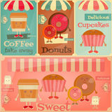 Cafe Sweet Shop. Cartoon Cover Menu Set - Funny Coffee, Donuts and Cake. Vector Illustration Stock Photos