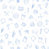 Cafe sweets icons pattern Stock Photography