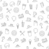 Cafe sweets icons pattern Royalty Free Stock Photo