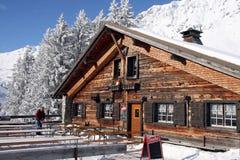 Cafe in Switzerland Alps Stock Photo