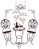 Cafe symbols - table and chairs, coffee-pot with cups Royalty Free Stock Image