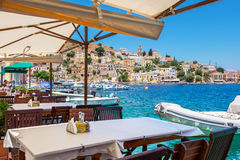Cafe on Symi Island. Greece Royalty Free Stock Images