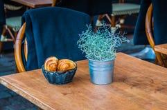 Cafe table. Ready for customer 0n street of Copenhagen, Denmark Royalty Free Stock Image