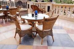 Cafe table on a balcony Stock Photo