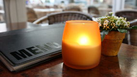 Cafe table with candle Stock Photography