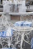 Cafe Table and Chair, Traku Street; Vilnius Royalty Free Stock Photos