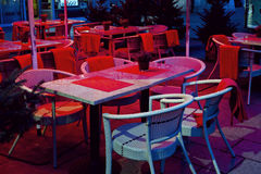 Cafe with table and chairs Stock Photography