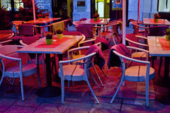 Cafe with table and chairs Royalty Free Stock Image