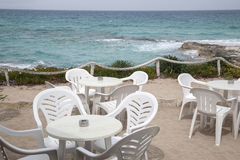 Cafe Table and Chairs, Formentera, Balearic Islands Royalty Free Stock Images