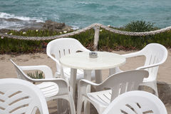 Cafe Table and Chairs, Formentera, Balearic Islands Royalty Free Stock Photos