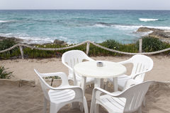 Cafe Table and Chairs, Formentera, Balearic Islands Stock Photo