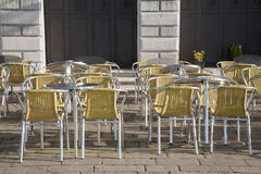 Cafe Table and Chairs in St Marks Square; Venice Royalty Free Stock Image