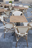 Cafe Table and Chairs Stare Mesto Neighborhood, Prague Stock Image