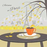 Cafe table with cup of coffee and Paris background vector illustration
