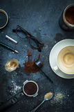 Cafe table - espresso accessories, empty coffee cup Stock Photos