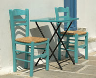 Cafe Table In Greek Island Stock Photography