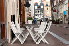 Cafe table on a street Royalty Free Stock Images