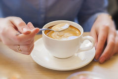 Cafe, table, woman, cup of coffee (high quality) Royalty Free Stock Images