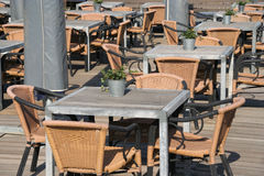 Cafe Tables. Tables at an outdoor cafe stock photography