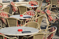 Cafe Tables. Tables and chairs at a cafe royalty free stock images