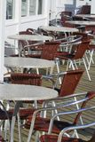 Cafe tables and chairs. Ready for business stock image