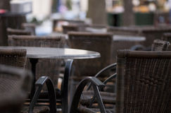 Cafe tables and chairs Royalty Free Stock Images