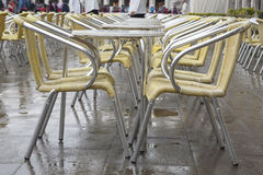 Cafe Tables and Chairs in San Marcos - St Marks Square, Venice Royalty Free Stock Image