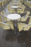 Cafe Tables and Chairs in San Marcos - St Marks Square, Venice Stock Photo