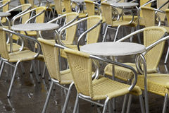 Cafe Tables and Chairs in San Marcos - St Marks Square, Venice Royalty Free Stock Photography