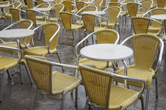 Cafe Tables and Chairs in San Marcos - St Marks Square, Venice Stock Image