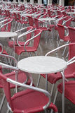 Cafe Tables and Chairs in San Marcos - St Marks Square, Venice Stock Photos