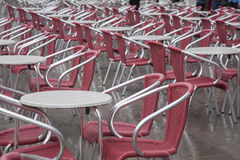 Cafe Tables and Chairs in San Marcos - St Marks Square, Venice Royalty Free Stock Photos