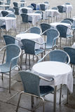 Cafe Tables and Chairs in San Marcos - St Marks Square; Venice Stock Photo