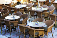 Cafe with tables and chairs Stock Photo