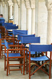 Cafe tables in the columned ha. Empty cafe tables in the columned hall Royalty Free Stock Photos