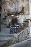 Cafe tables in Cosenza stock photos